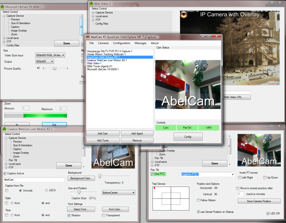 AbelCam does it all: cam server, video broadcast, motion detection, ftp upload